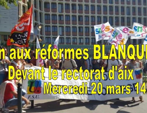 Rassemblement académique devant Rectorat d'Aix /mercredi 20 mars à 14:00