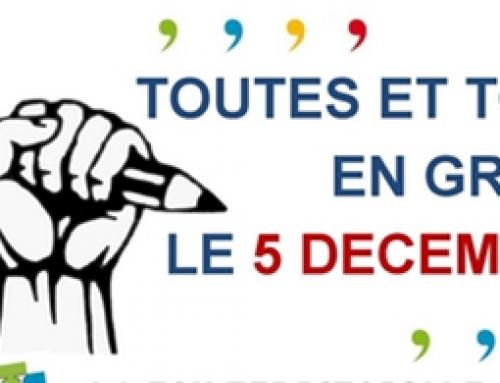 Le 5 décembre / un maximum d'écoles fermées !