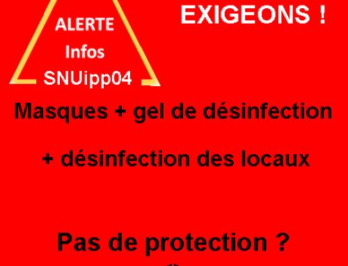 Le SNUipp04 exige des mesures de protection dans les écoles : Fonctionnaires volontaires… mais pas suicidaires.